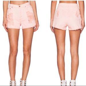 Mink Pink slashed denim high waist shorts XS